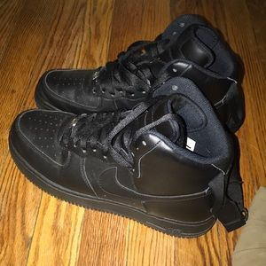 Nike Shoes - All black Air Force ones height top with strap